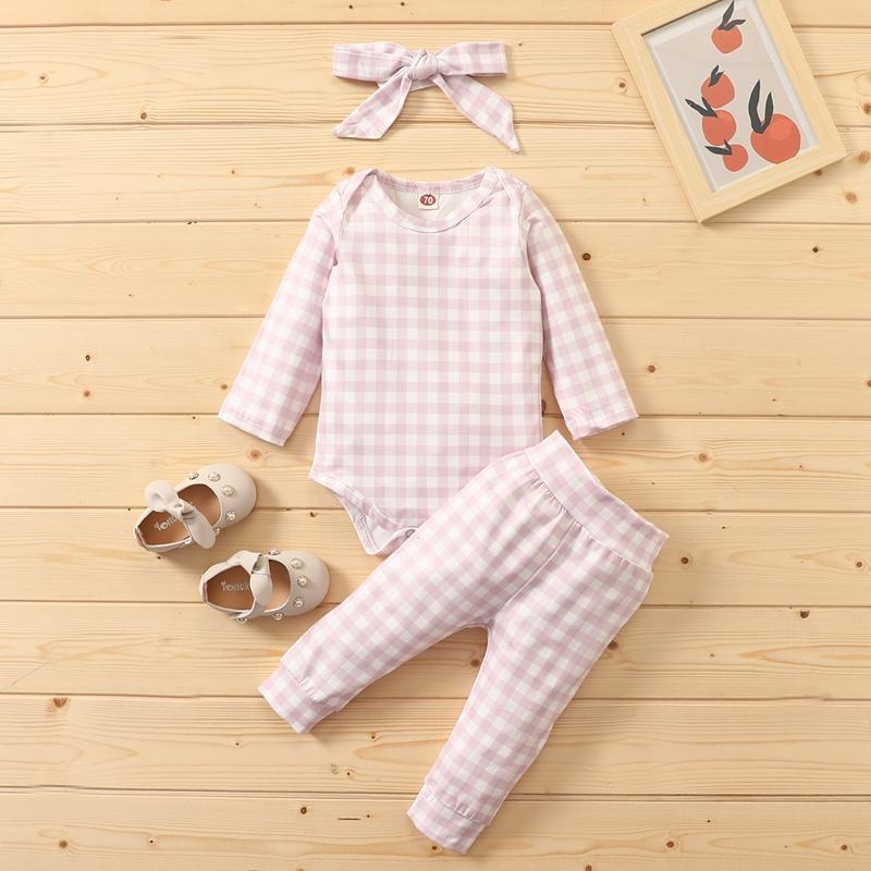 3-piece Plaid Romper & Plaid Pants & Headband for Baby Girl