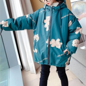Bear Pattern Puffer Jacket for Girl