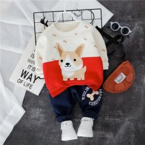 2-piece Cartoon Pattern Fleece-lined Hoodie & Fleece-lined Pants for Toddler Boy