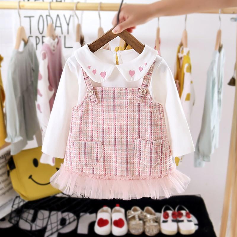 2-piece Preppy Color-block Dress Sets for Toddler Girl