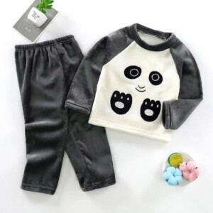 2-piece Animal Pattern Fleece-lined Pajamas Sets for Toddler Boy