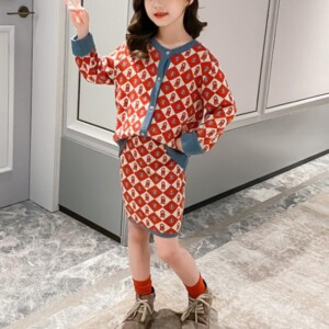 2-piece Geometric Figure Sweater cardigan & Sweater Skirt for Girl