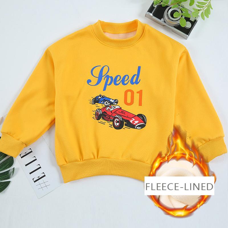Vehicle Pattern Fleece-lined Hoodie for Boy