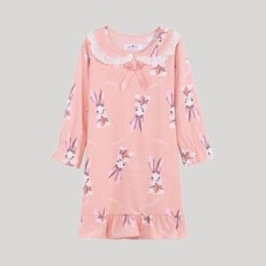 Rabbit Pattern Pajamas Dress for Toddler Girl