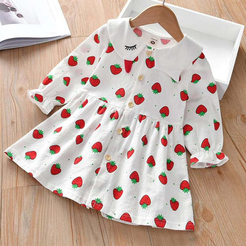Strawberry Printed Dress for Toddler Girl