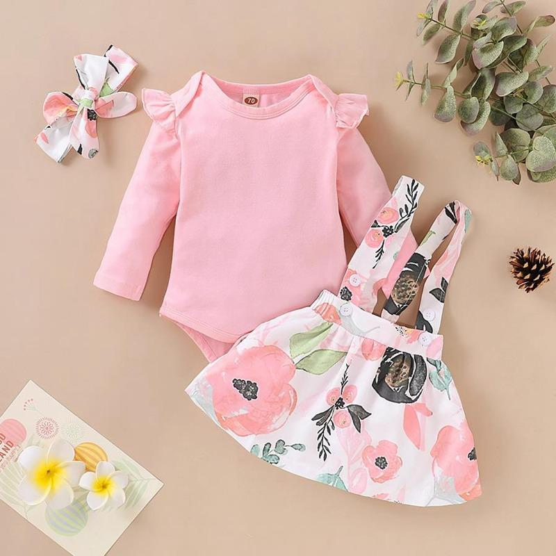 3-piece Solid Ruffle Bodysuit & Floral Printed Dress & Headband for Baby Girl