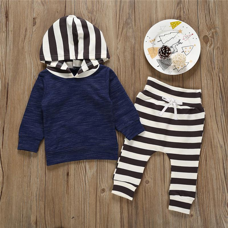 2-piece Stripe Solid Top & Stripe Pants for Baby Boy