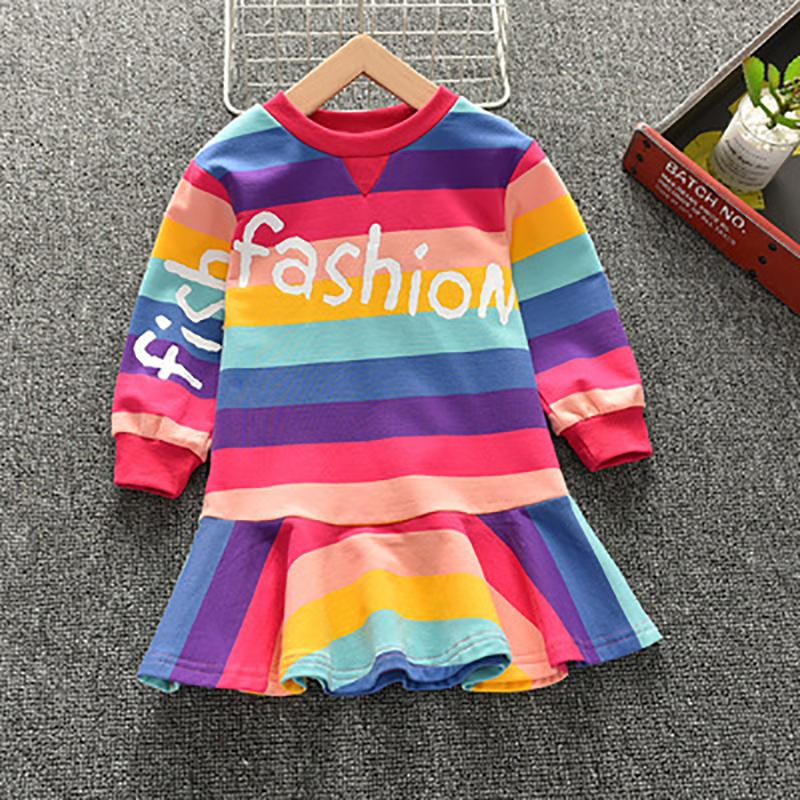 Color-block Letter Pattern Dress for Toddler Girl