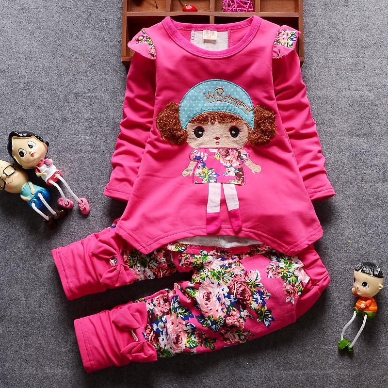 2-piece Floral Pattern Suit for Toddler Girl
