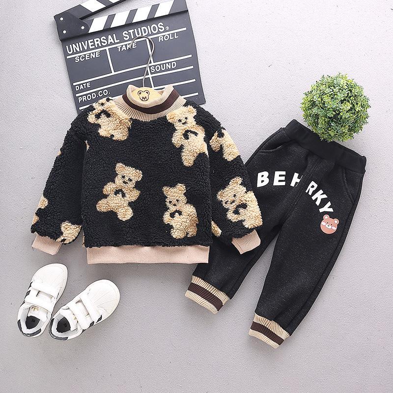 2-piece Bear Pattern Sweatshirts & Pants for Toddler Boy