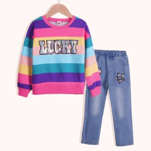 2-piece Rainbow Striped Sweatshirt & Jeans for Girl