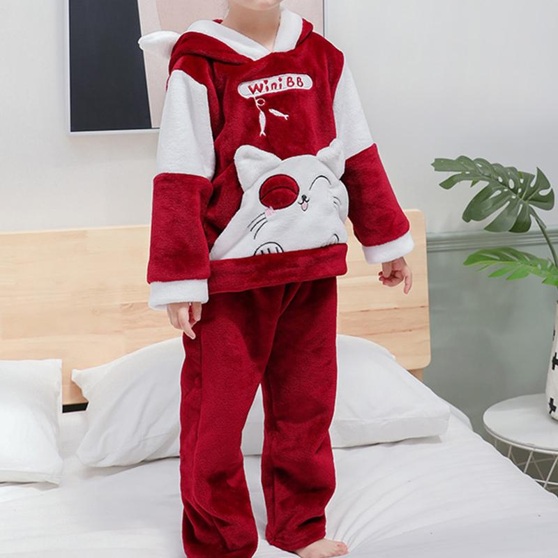 2-piece Cat Pattern Flannel Suit for Toddler Girl