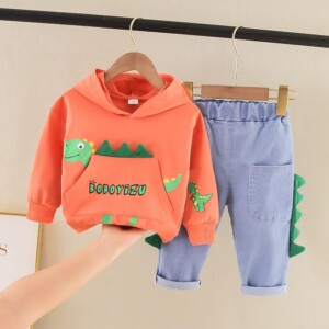 2-piece Dinosaur Printed Hoodie & Jeans for Toddler Boy