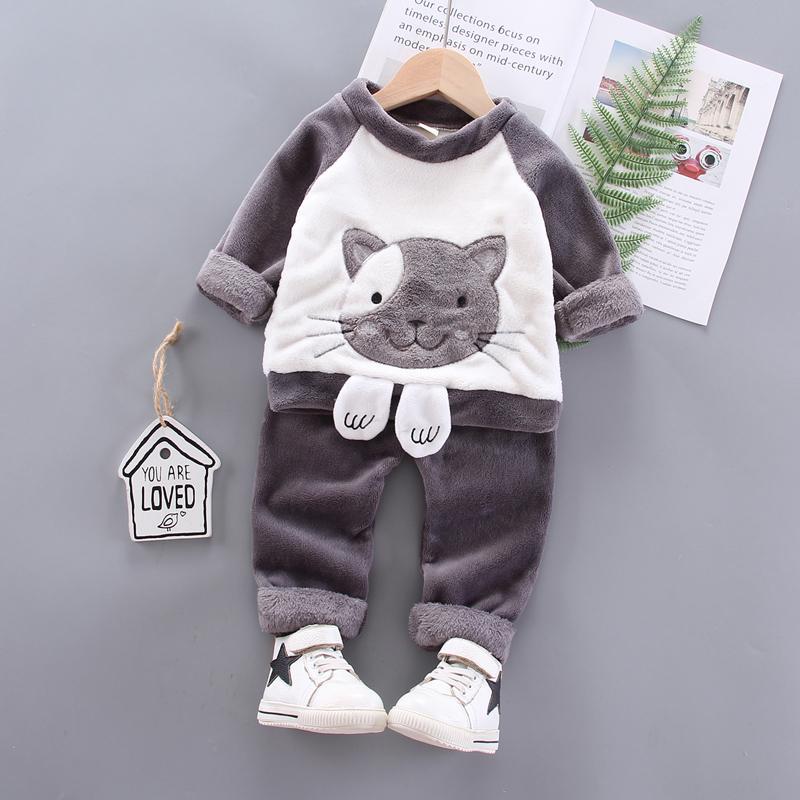 2-piece Cartoon Design Sweatshirts & Pants for Toddler Girl