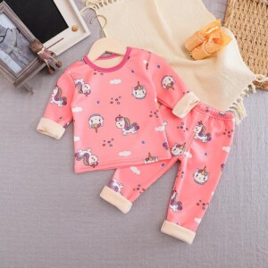 2-piece Cartoon Pattern Fleece-lined Pajamas Sets for Toddler Girl