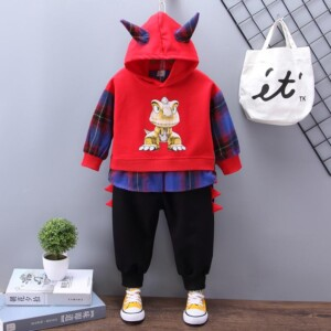 2-piece Cartoon Design Hoodie & Pants for Toddler Boy