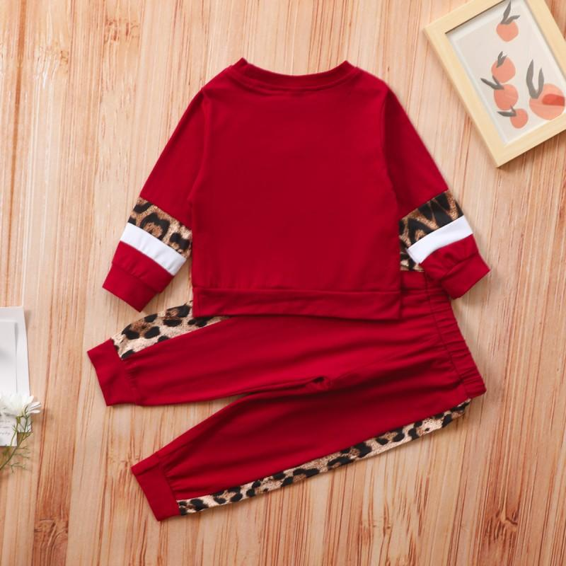 Casual Leopard Splicing Sweatshirt and Pants Set