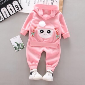2-piece Cartoon Pattern Thick Hoodie & Thick Pants for Toddler Girl