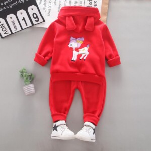 2-piece Deer Pattern Hoodie & Pants for Toddler Girl