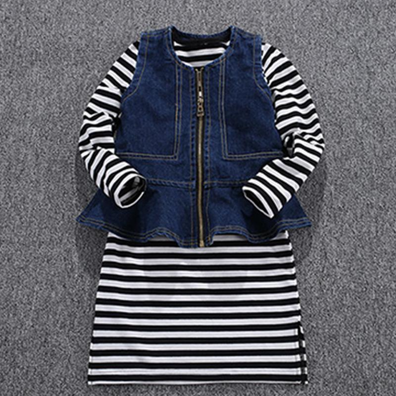 2-piece Stripes Pattern Dress & Vest for Girl