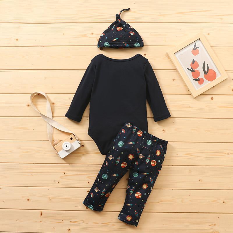 3-piece Letter Pattern Bodysuit & Pants & Hat for Baby