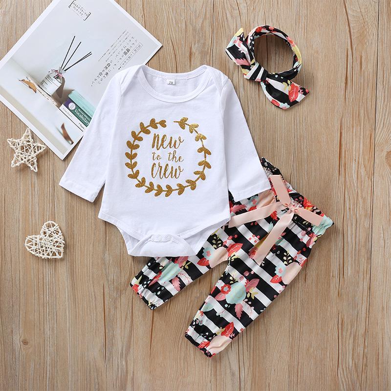 3-piece Letter Pattern Bodysuit & Pants & Headband for Baby Girl