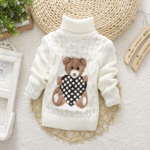 Bear Pattern Turtleneck Sweater for Toddler Girl
