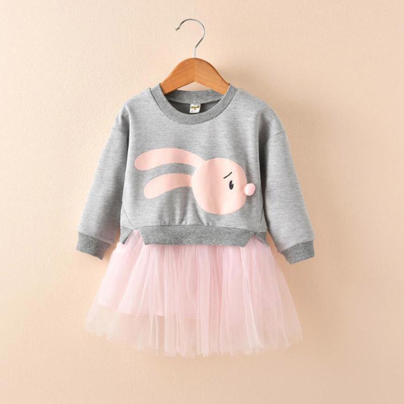 Rabbit Pattern Patchwork Tulle Dress for Toddler Girl