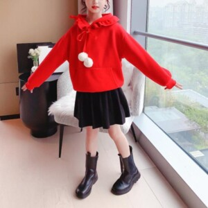 2-piece Christmas Pattern Sweater & Skirt for Girl