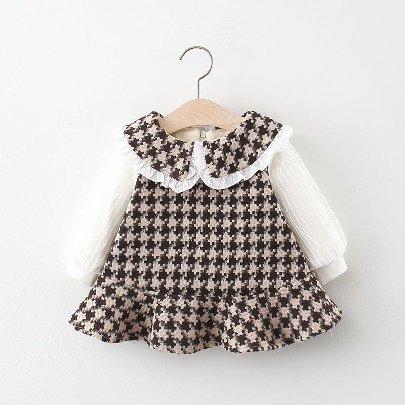 Plaid Thick Woolen Cloth Dress for Toddler Girl