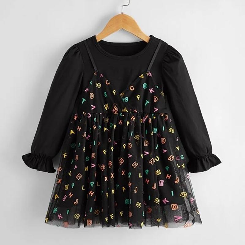 Letter Printed Patchwork Tulle Dress for Toddler Girl