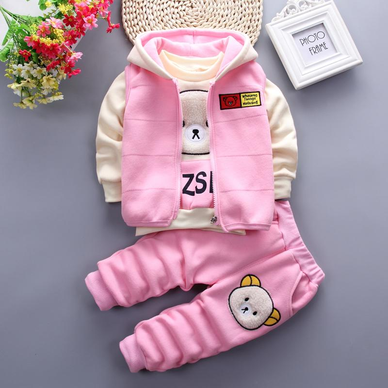 3-piece Cartoon Design Thick Hoodie Sets for Toddler Girl