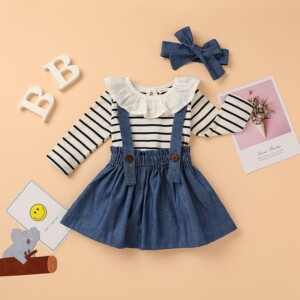 3-piece Lace Striped Bodysuit & Solid Strap Dresses & Headband for Baby Girl