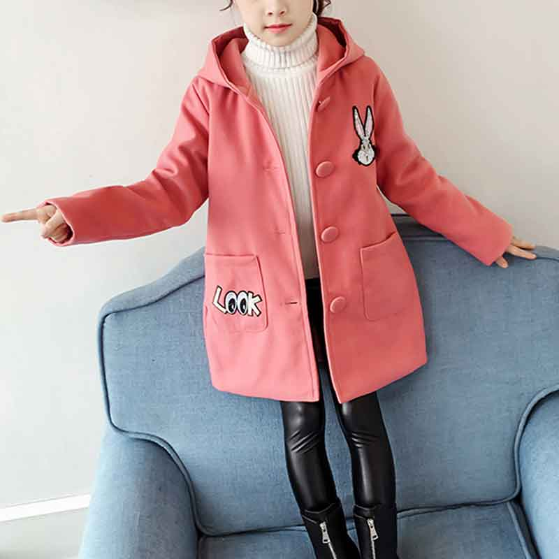 Rabbit Pattern Thick Duffle Coat for Girl