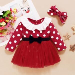 2-piece Polka Dot Dress & Headband for Baby Girl