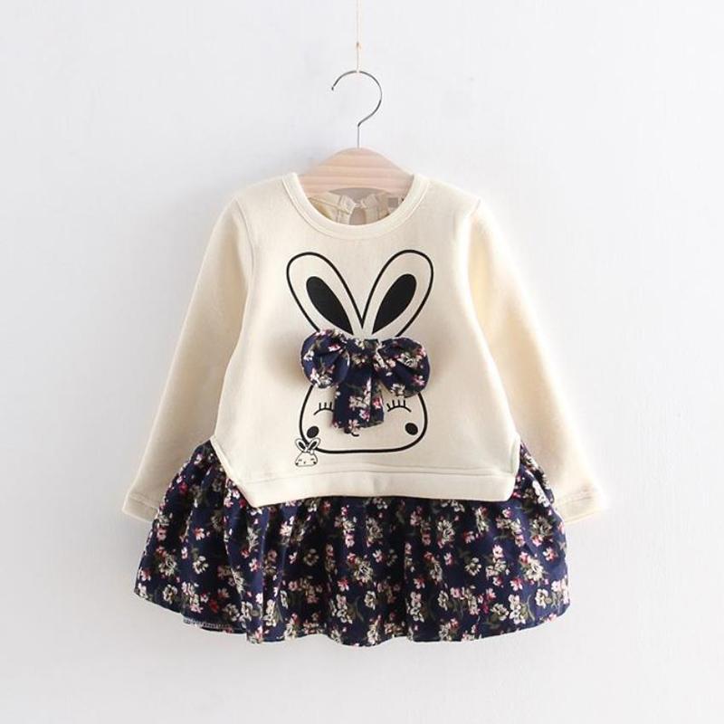 Rabbit Pattern Floral Printed Dress for Toddler Girl