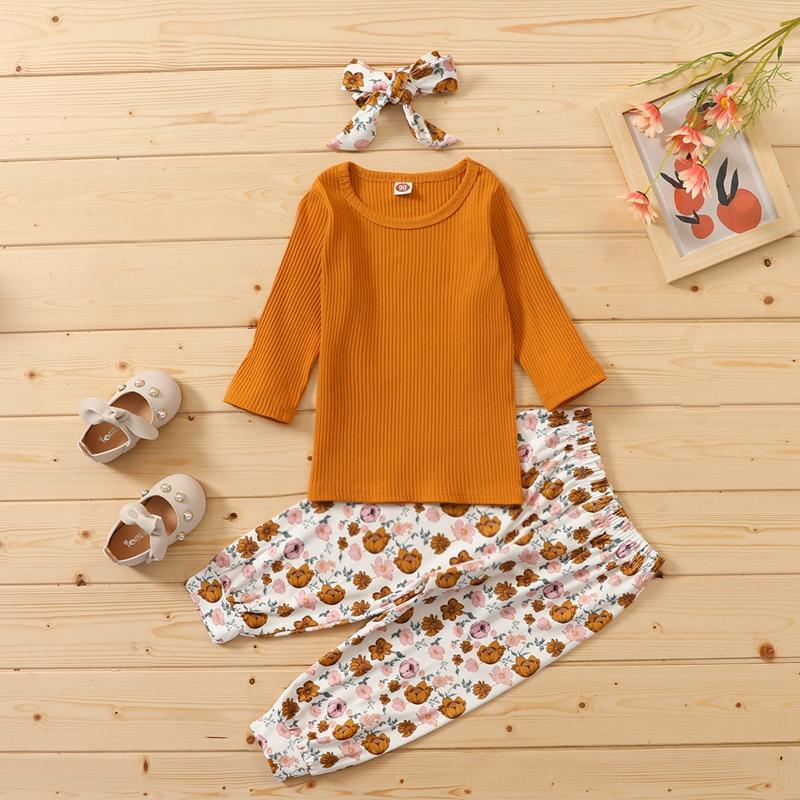 3-piece Solid Knit Tops & Floral Printed Pants & Headband for Toddler Girl