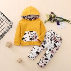 2-piece Floral Printed Hoodie & Pants for Baby Girl