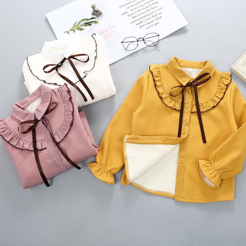 2-piece Ruffle Fleece-lined Shirts & Plaid Fleece-lined Skirt for Girl