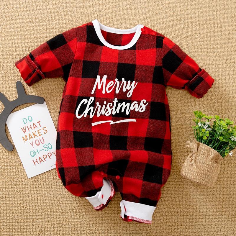 Letter Pattern Plaid Jumpsuit for Baby