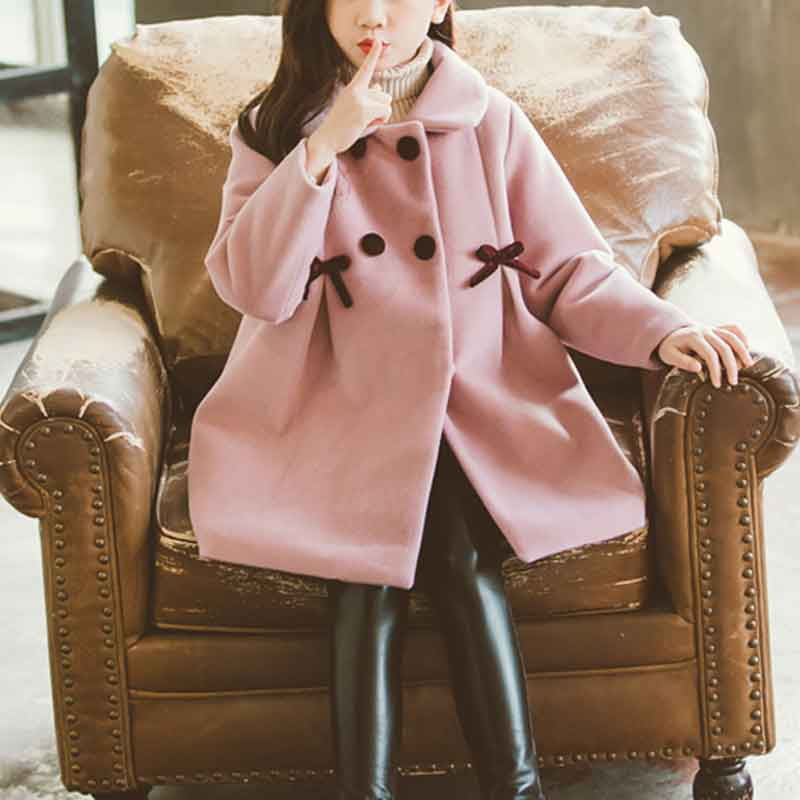 Bowknot Thick Duffle Coat for Girl