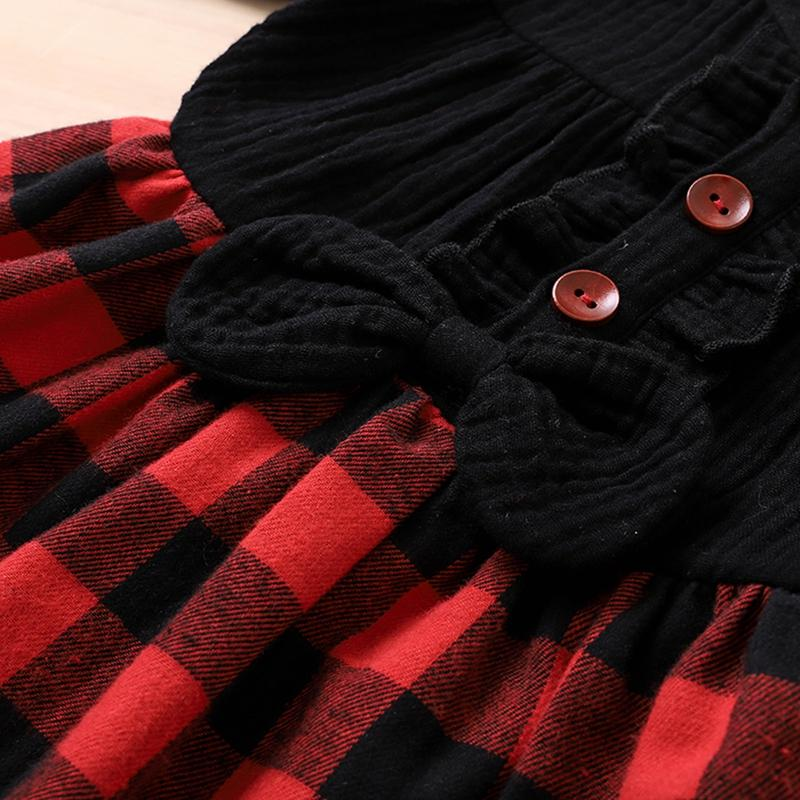 Splicing Plaid Dress with Bowknot