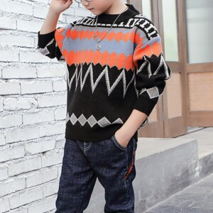 Geometric Pattern Knitted Sweater for Boy