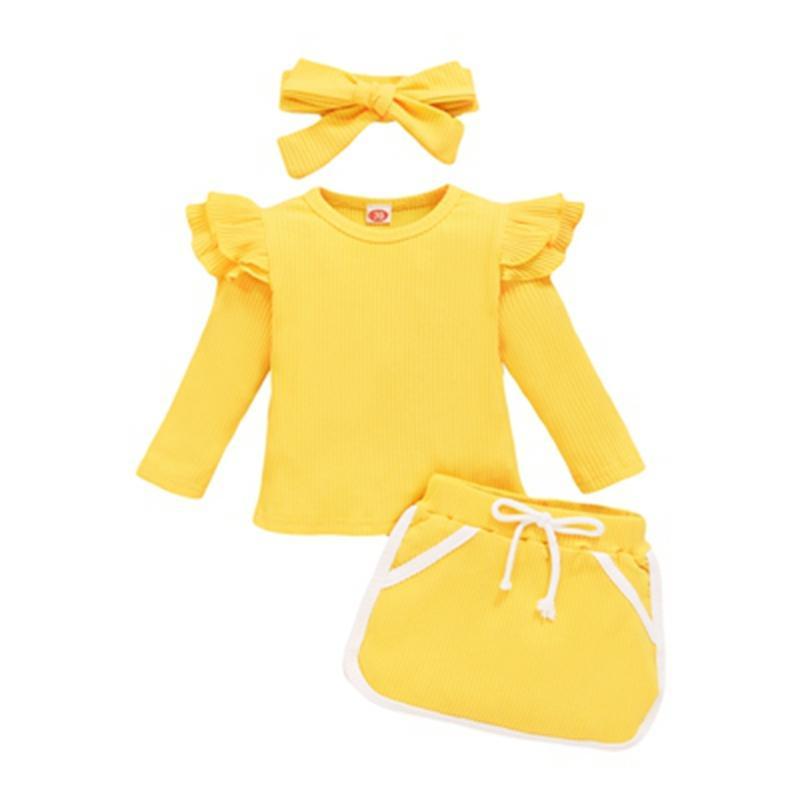 3-piece Solid Ruffle Tops & Shorts & Headband for Baby Girl