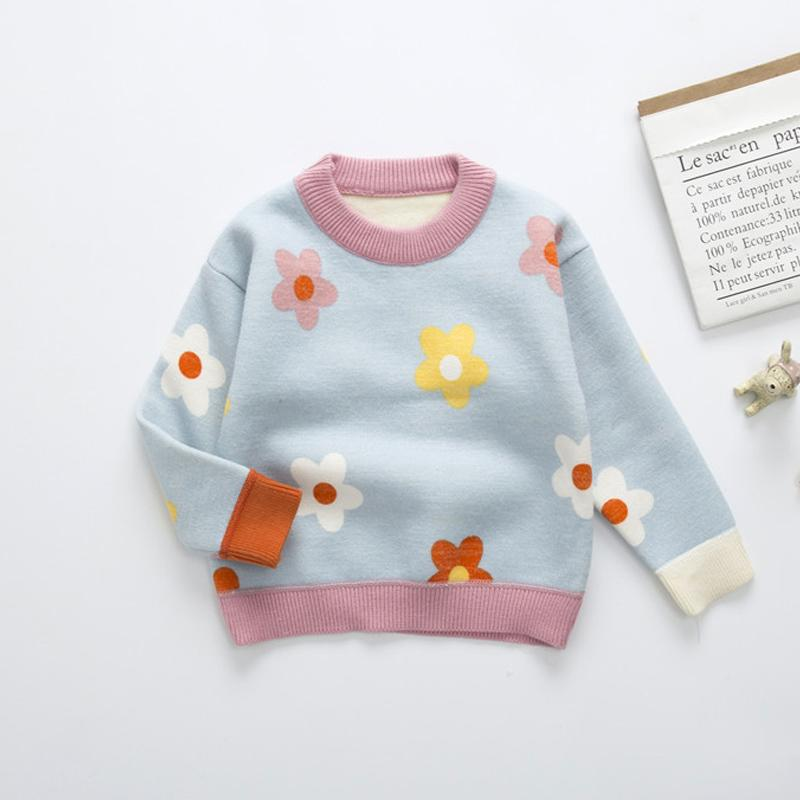Floral Pattern Sweater for Toddler Girl