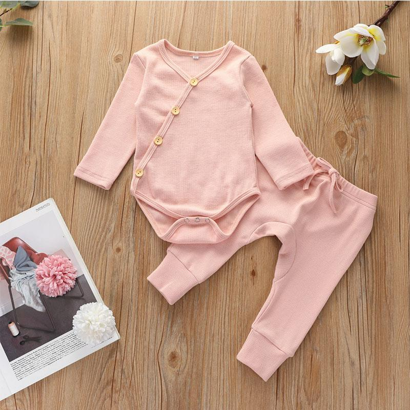 Solid Cotton Long-sleeve Bodysuit and Pants Set