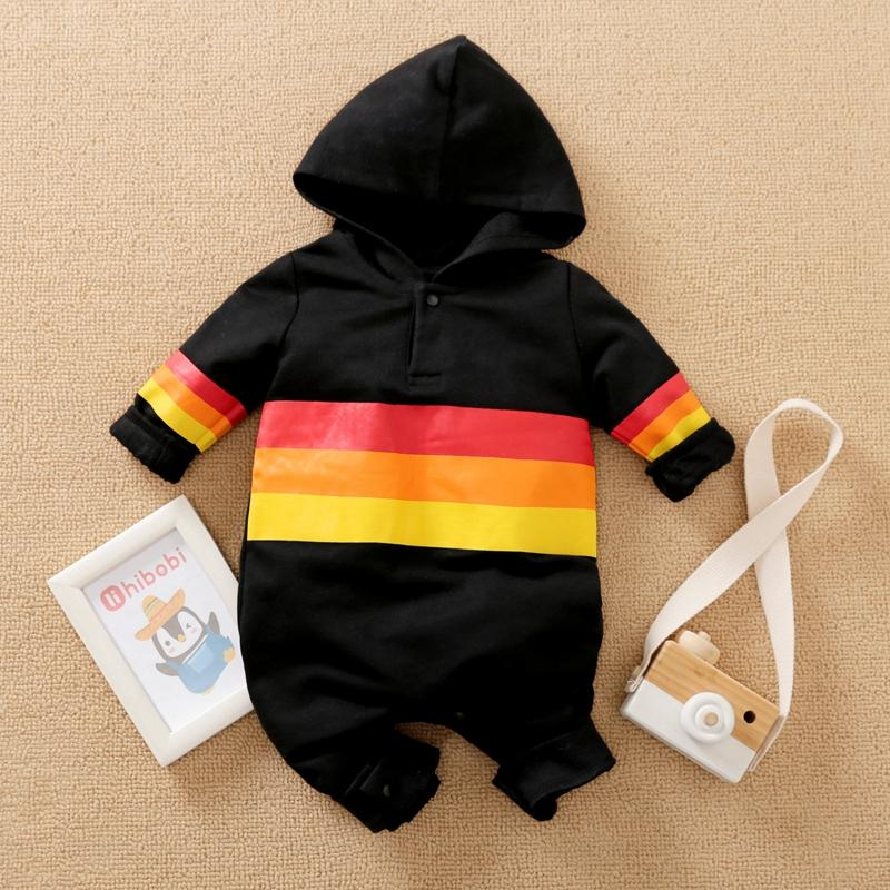 Color-block Hooded Jumpsuit for Baby Boy