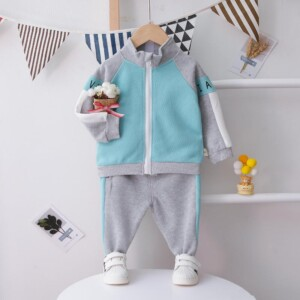 2-piece Casual Color-block Coat & Pants for Toddler Boy