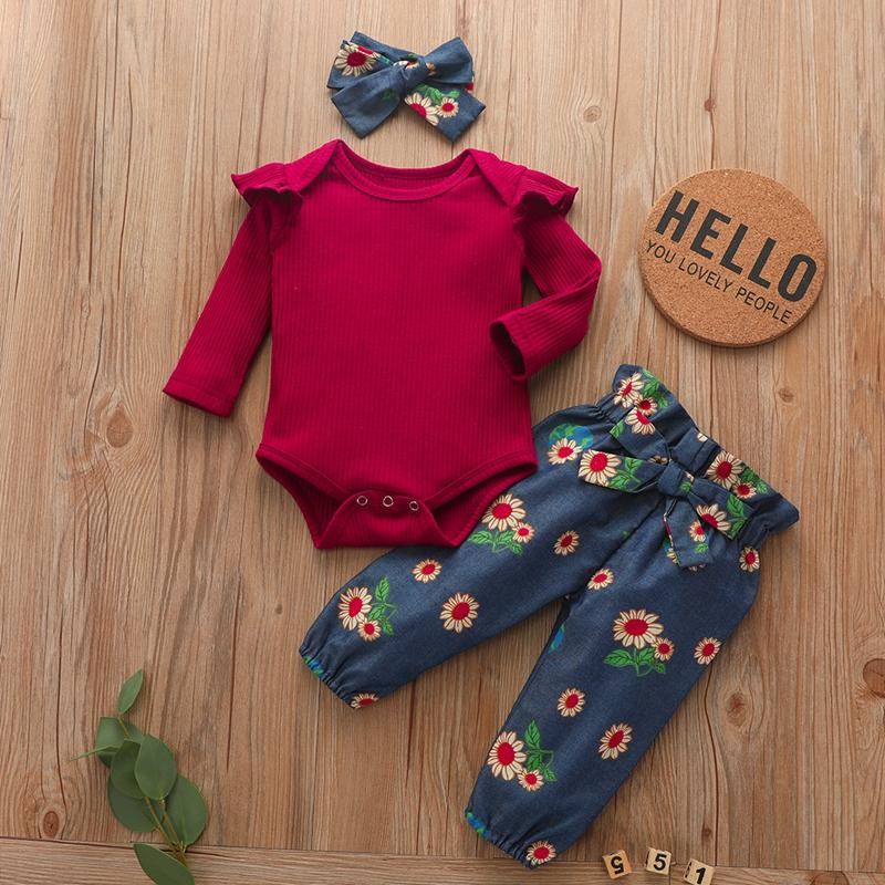 3-piece Solid Ruffle Bodysuit & Floral Printed Pants & Headband for Baby Girl