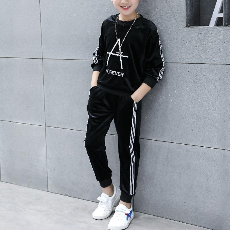 2-piece Letter Pattern Pullover & Pants for Boy